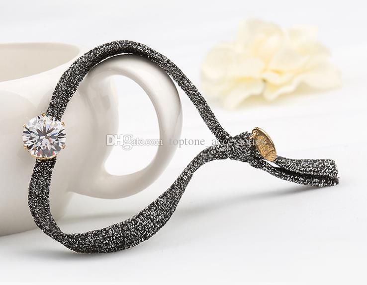 New Women Knot Elastic Hair Band High Quality CZ Rhinestone Girl Hair Accessories Bracelets For Wholesale