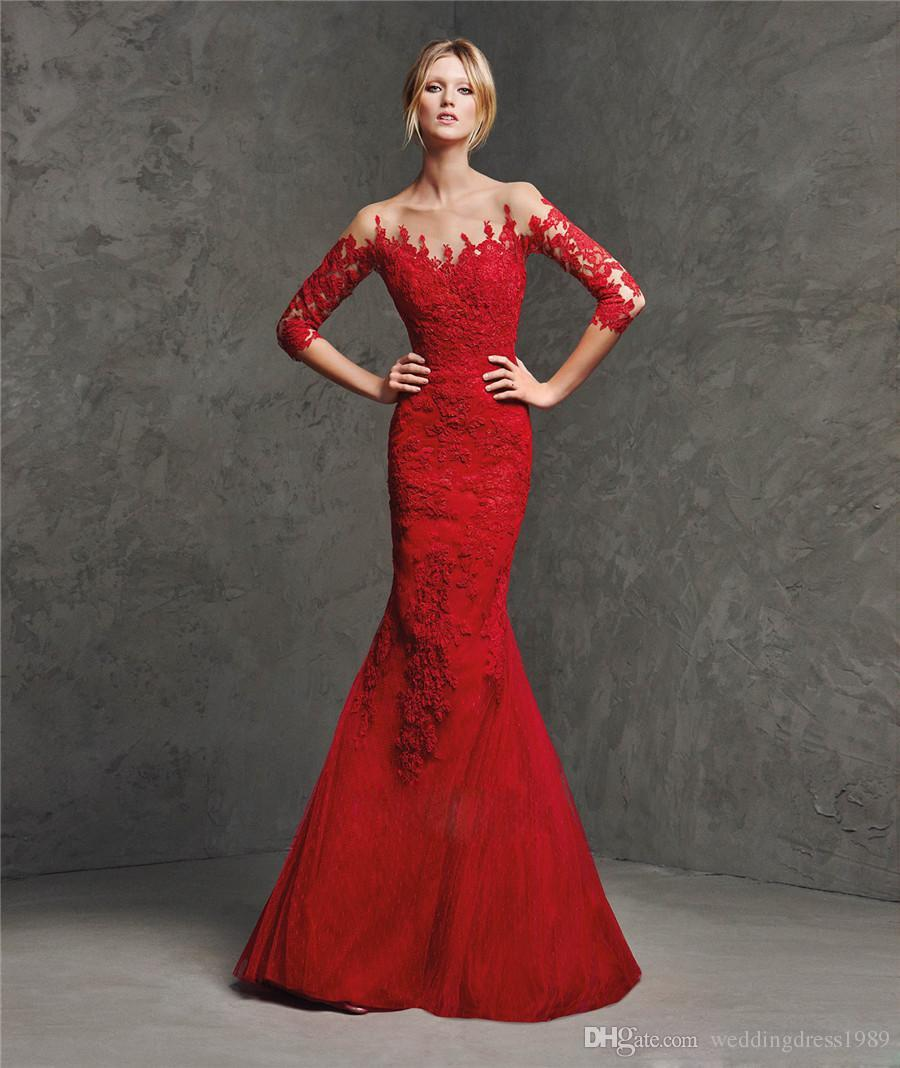 Vestidos de noche rojos de encaje de sirena de moda Apliques transparentes Mangas largas Vestidos de fiesta Vestido de fiesta Vestidos de gala de desfile formal Vestidos de fiesta