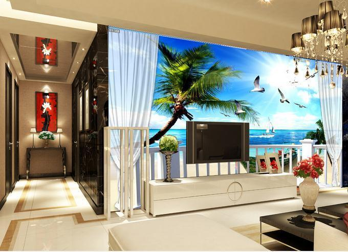 Customize Wallpaper 3d Living Room Tv Backdrop Scenery Balcony Sea Coconut 3d  Wallpaper 3d Mural Wallpaper Free Shipping4202!!! Part 15