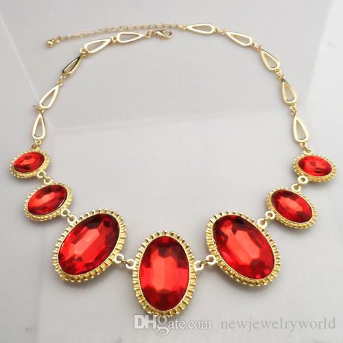18K Yellow Gold Plated Ruby Stone Jewelry Sets Elegant Red Rhinestone Wedding Necklace, Bracelet, Earrings and Ring Jewelry Sets 720
