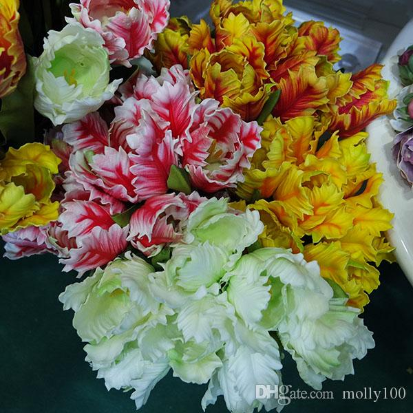 artificial parrot tulips bouquets Artificial Flowers Simulation real touch Tulip Wedding Party Home Decoration Flowers