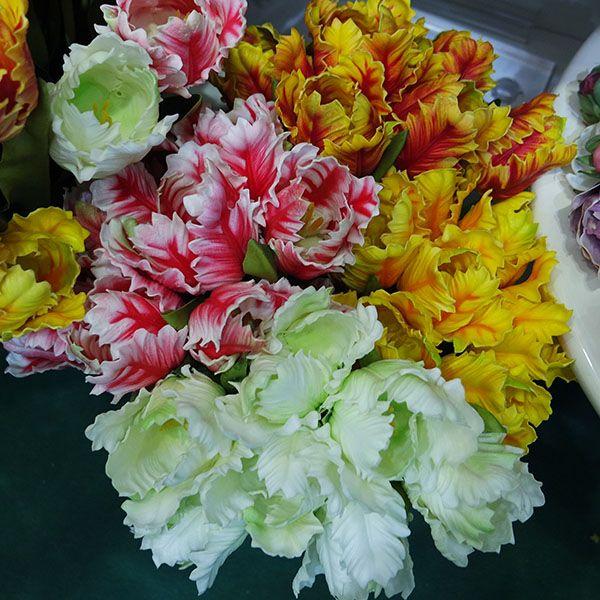 de tulipes perroquet artificielles Fleurs artificielles Simulation réelle toucher Tulip Wedding Party Décoration Fleurs