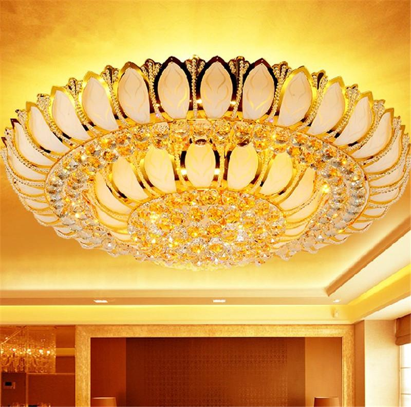 Golden Lotus crystal lamp living room bedroom cornucopia led round ceiling  chandelier light lighting with 2018 Crystal Lamp Living Room Bedroom Cornucopia Led