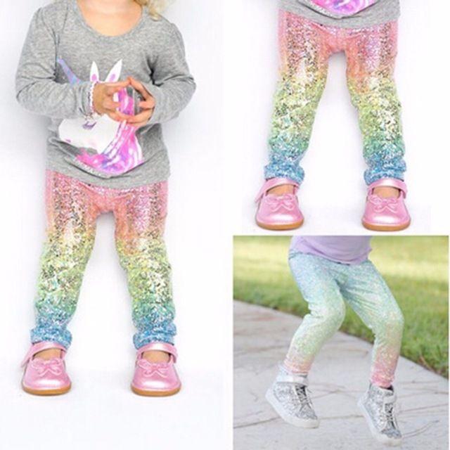b86761082e86a Kids Clothing Mermaid Style Baby Girl Leggings Print Gradient Color Casual  Long Pants Trousers Elastic Slim Fitness Leggings for 2-6 Years