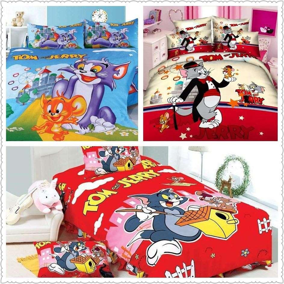 2019 Amazing Bright Color Tom And Jerry Print Bedding Set