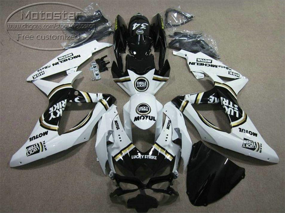 ABS полный обтекатель комплект для SUZUKI GSXR750 GSXR600 2008-2010 K8 K9 черный белый повезло забастовку обтекатели набор GSXR600/750 08 09 10 KS63