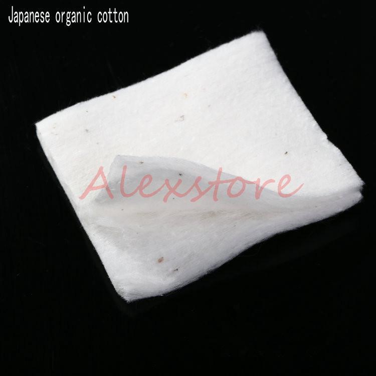Mini paketi Otantik Japon saf organik pamuk Fitilleri pamuk kumaş japonya pedleri DIY RDA Vape Için 10 adet / grup PK Koh Gen Do Puf