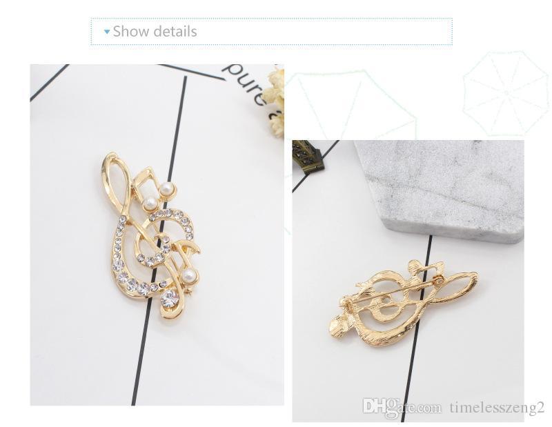 Fashion Jewelry Classic Design Music Notation Brooches Set Rhinestone Lady Shirt Collar Pin Creative Multicolor Corsage