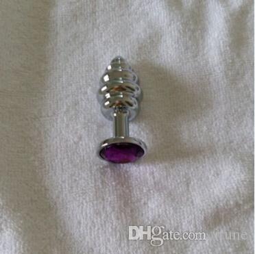 2015 новый тип винта металла анальный штекер 75 * 30 мм из нержавеющей стали анальная пробка привлекательный ювелирные изделия Алмаз взрослых Секс-игрушки 100 шт. / лот