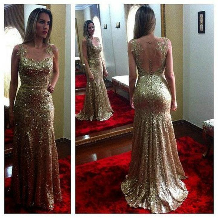 2014 Custom Made Sheer Sequin Gold Mermaid Evening Gowns Long Prom ...