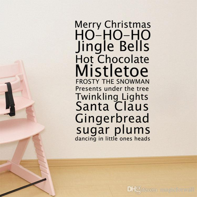 Merry Christmas Quote Wall Decal Sticker Merry Christmas Lettering Wall Art Murals Poster Creative Christmas Wallpaper Decor