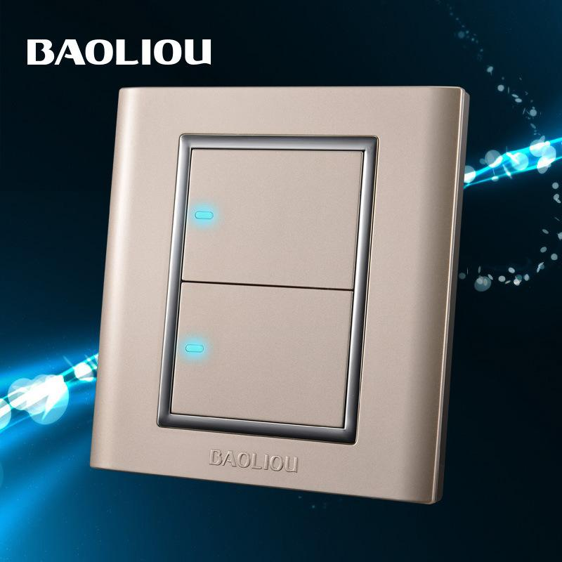 bao leo wall switch socket switch panel led light two point switch two open double control shock. Black Bedroom Furniture Sets. Home Design Ideas