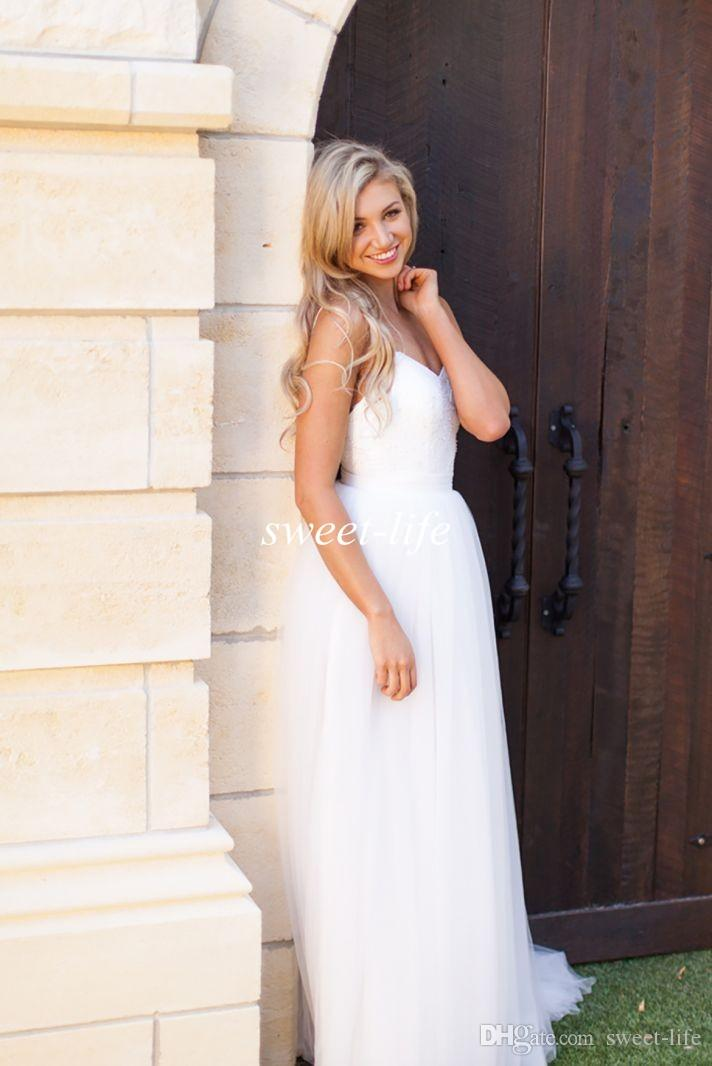2019 White Tulle Simple Wedding Dresses Cheap Sexy Lace Spaghetti Straps Backless A-Line Floor Length Boho Beach Garden Bridal Gowns