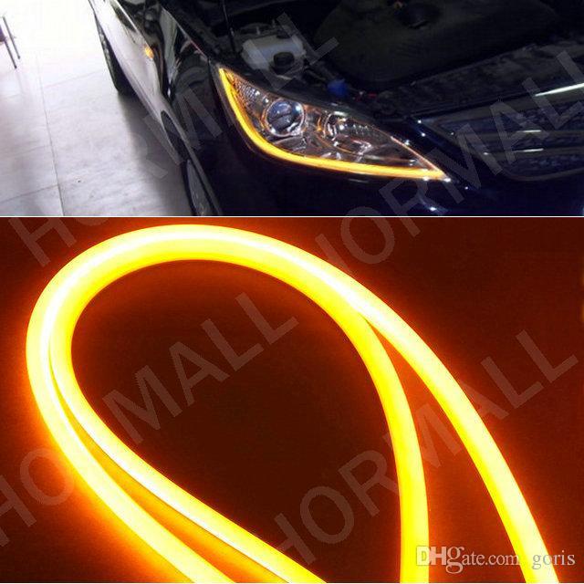 Voiture Lampe 60 CM LED Flexible DRL Bandes Douces LED Feux de jour LED Tube Lumière Blanc Jaune Switchback DRL lumière