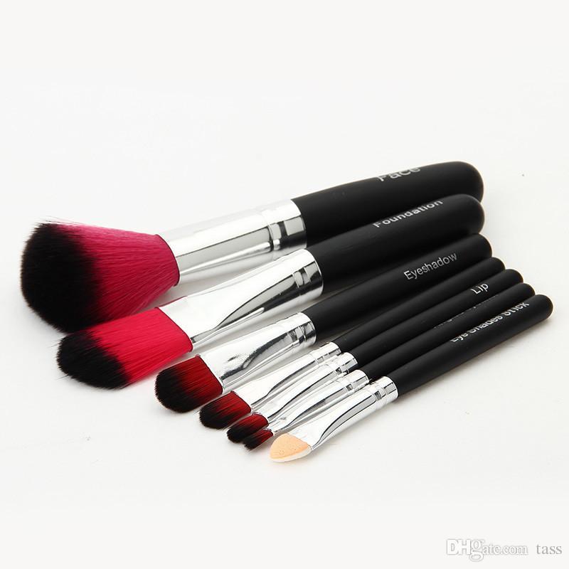 7 Pz / set Hello kitty Make Up Pennello cosmetico Kit pennelli trucco ferro nero Custodia / toilette bellezza apparecchi pennello trucco