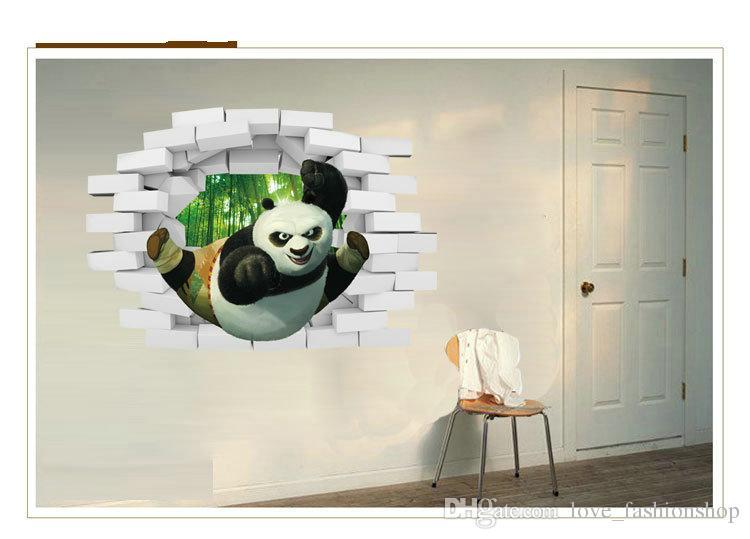 2015 Panda 3D estereoscópica pegatinas de pared Habitación de los niños extraíble decorativos tatuajes de pared de dibujos animados Wallpaper Navidad arte de la pared pegatinas 50 * 70 cm