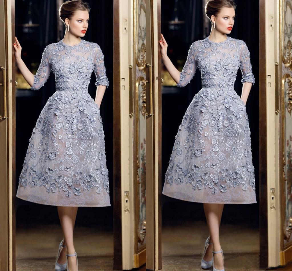 Hot ventes 2020 courtes robes de soirée avec demi-manches Elie Saab 3D Floral Appliqued Parti dentelle robes pour femmes Robes de soirée formelle