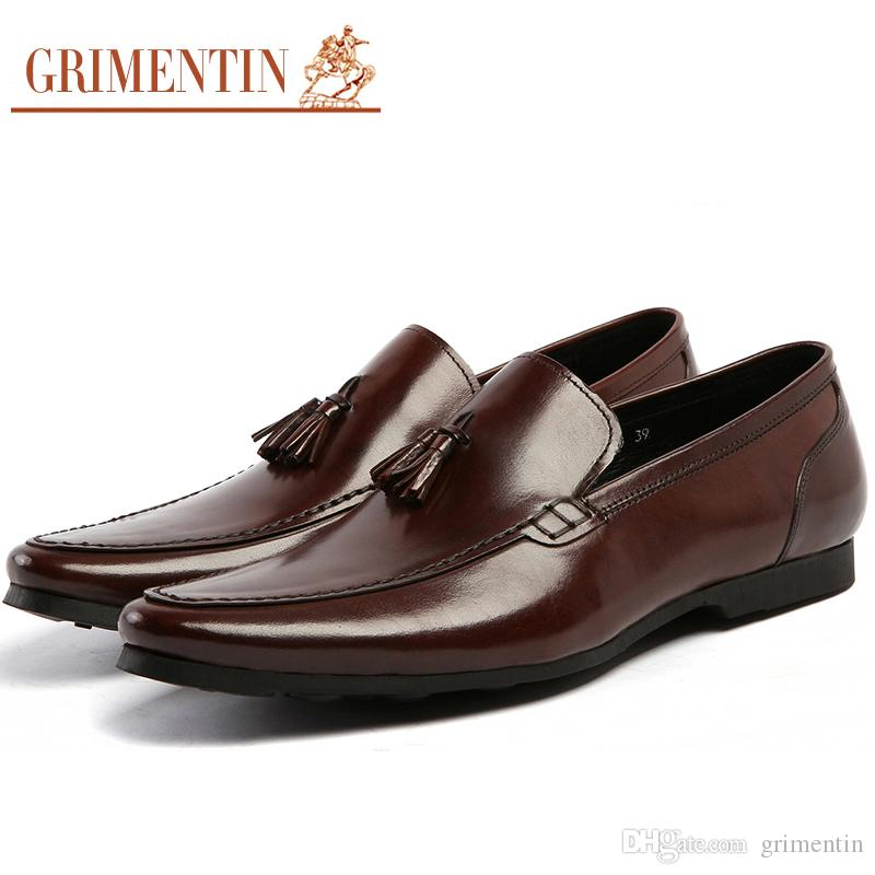 e6c8f54ff0b489 Großhandel GRIMENTIN Sommer Braun Mens Loafer Schuhe 100% Echtes Leder  Casual Slip On Quaste Modedesigner Mens Kleid Schuhe Große Größe Männliche  Schuhe Von ...