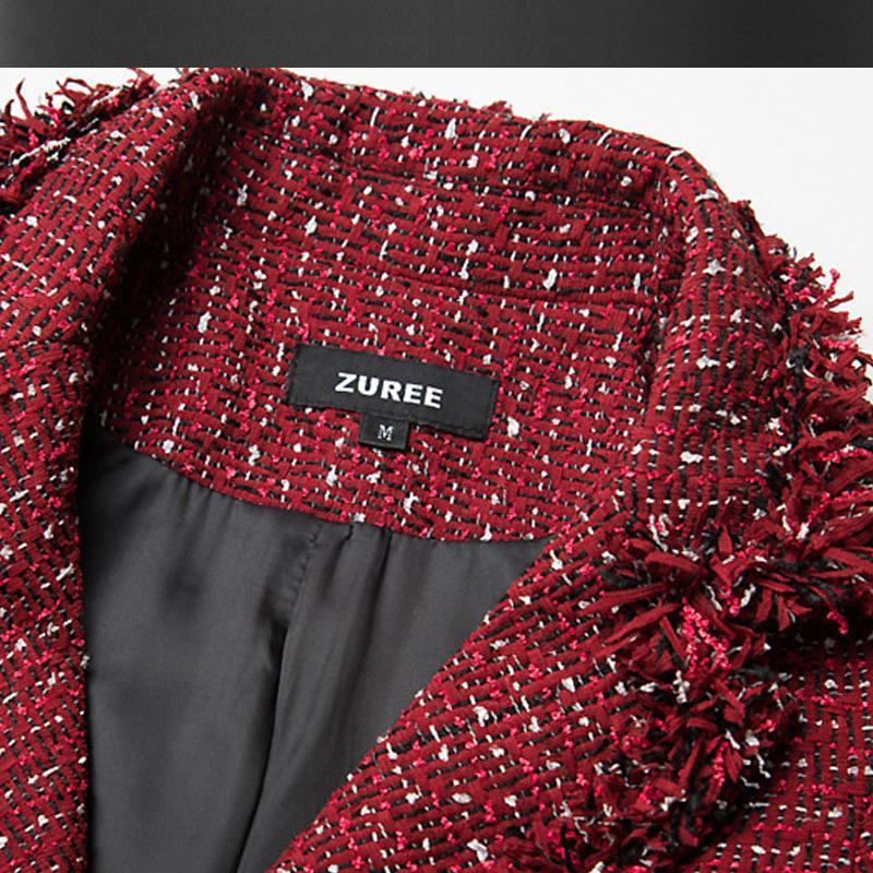 Vin rouge long manteau de tweed automne / hiver femmes veste haut de gamme personnalisé petit costume parfumé vent collier col manteau dames 1510