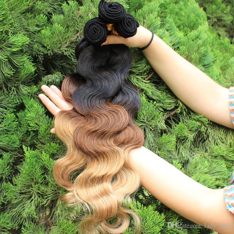 새로운 판매 # 1B / # 4 / # 27 옹 브르 색상 브라질 머리카락 3 개 / 300Gram 바디 웨이브 헤어 뭉치 최고 품질 처녀 브라질 브라질 처리되지 않은 머리카락