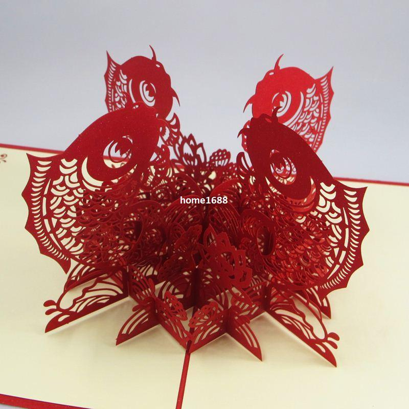 Chinese happy new year 3d fish personalized handmade 3d greeting chinese happy new year 3d fish personalized handmade 3d greeting cards birthday cards greetings birthday cards online from home1688 398 dhgate m4hsunfo