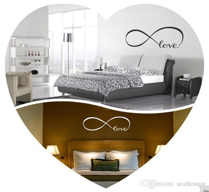 Toptan Ücretsiz nakliye Büyük Infinity Sembol Yatak Odası Duvar Çıkartması Aşk Yatak Odası Dekor Duvar Stickers Alıntılar