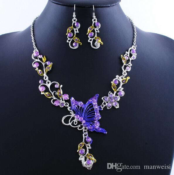 Women Butterfly Flower Rhinestone Pendant Statement Necklace Earrings Jewelry Set Fashion Jewelry Bridal Wedding Dress Jewelry Sets