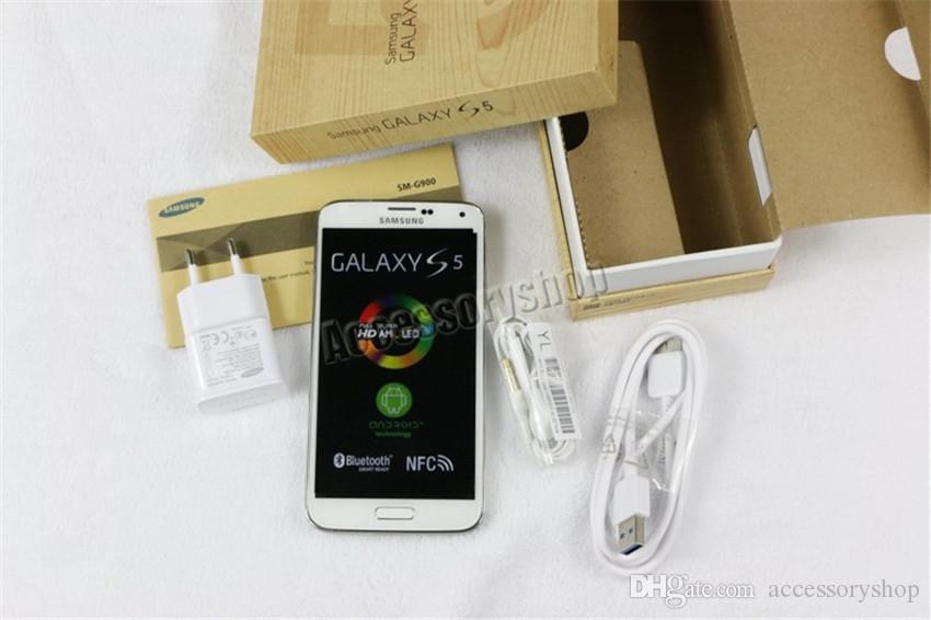المجددة لل Origianl سامسونج غالاكسي S5 G900F G900A G900V G900T G900P 5.1 بوصة رباعية النواة 2GB RAM 16GB ROM 4G LTE مقفلة الهاتف DHL