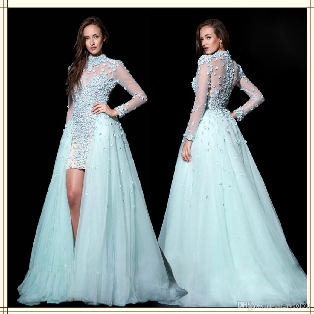 Elegant Sheer High Neck See Through Back Long Sleeve Prom Dress ...