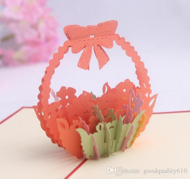 바구니 꽃 손수 Kirigami 종이 접기 3D 팝업 인사말 카드 초대장 엽서 생일 웨딩 파티 선물