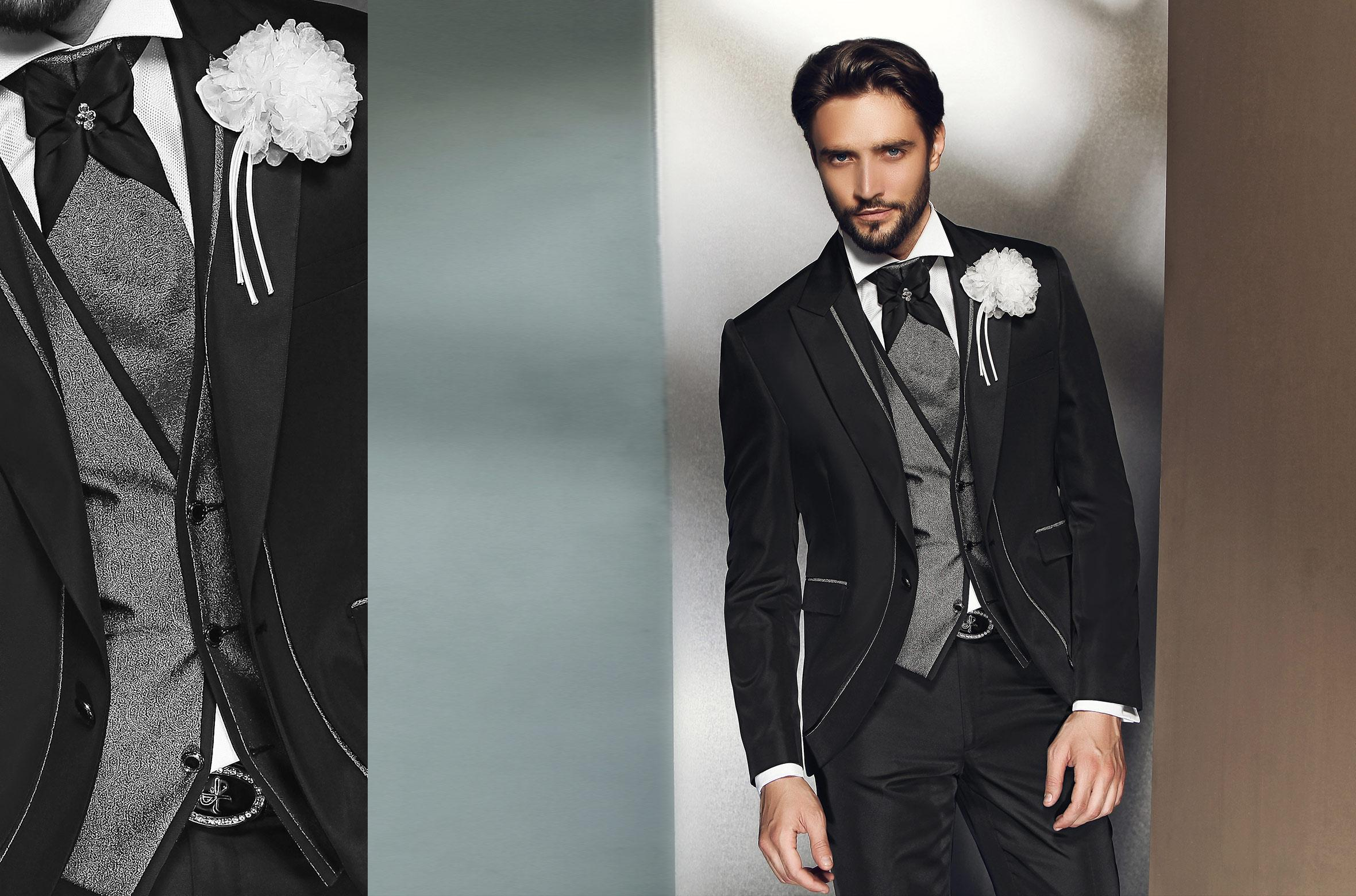 Black Mens Wedding Suits 2015 Peaked Lapel Mens Suits For Wedding ...
