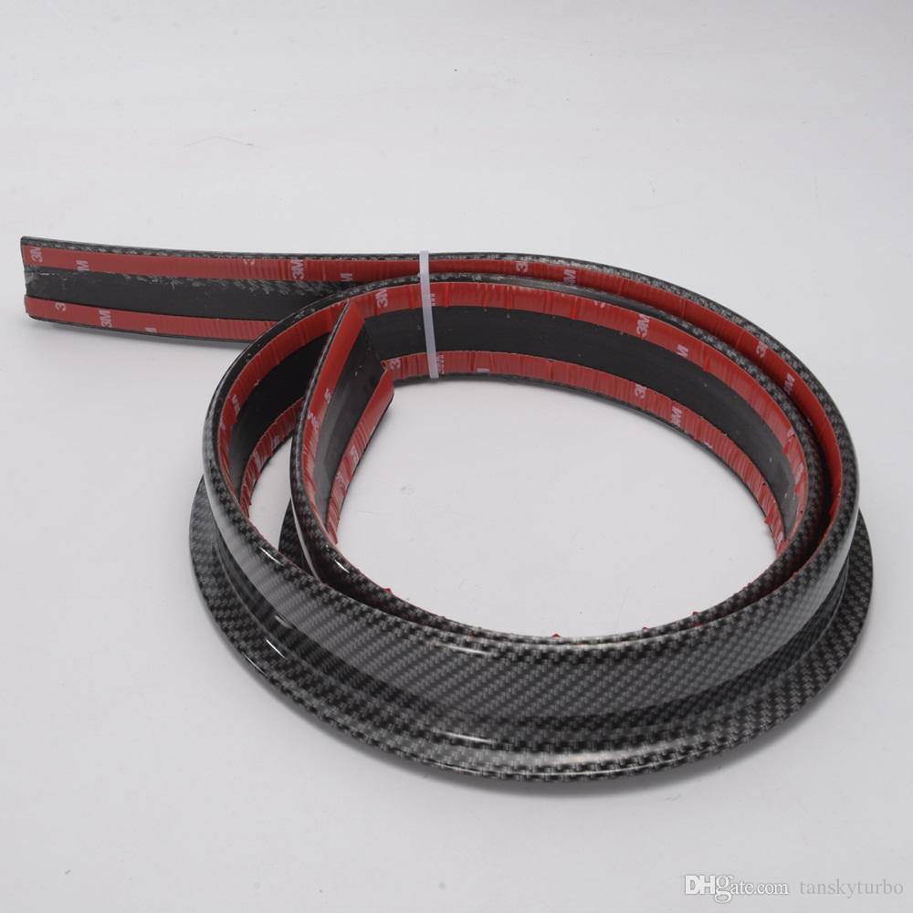 Tansky - Black Carbon Fiber 4.9ft 150 cm / 1,5 m 45MM corpo Bagagliaio posteriore del tetto spoiler Ala Trim Mold Sticker ADJT1188