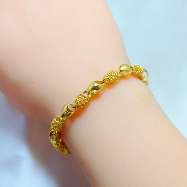 Korean Jewelry Ladies 24k Gold Plated Bracelet Hollow Euro