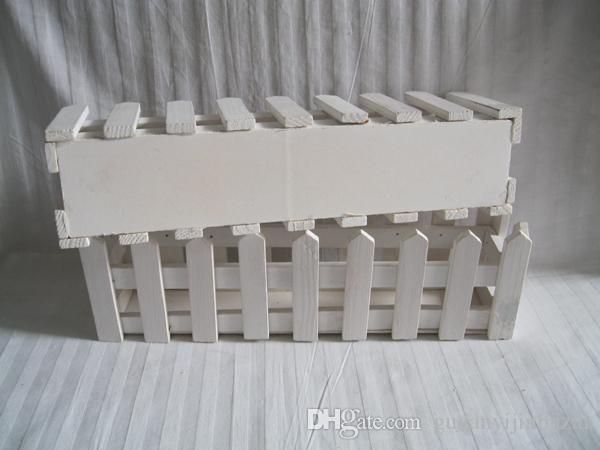 White Wedding Planter Wooden Decorative Flower pots Wood Planters pot Fence planter tray garden Artificial Vase SF-083W
