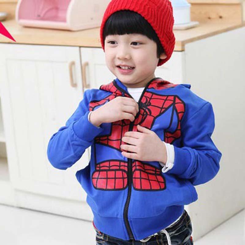 Yeni Çocuk dış giyim ceket çocuklar Örümcek Adam ceket Ceket Döngü kumaş Kazak Boyutu 90-130 CM B001