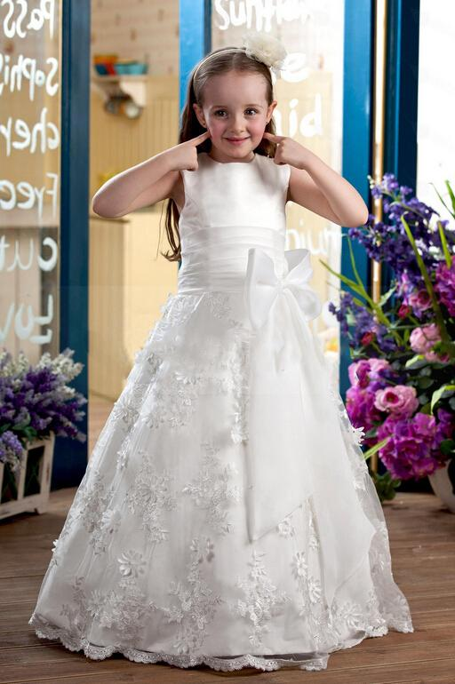 Lace Hand Made Flowers Ball Gown Flower Girl Dresses Flower Girl Wedding Dresses Baby Dresses Kids Pageant Dresses