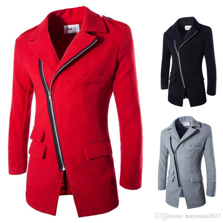 Men S Wool Jacket Coat Inclined Zipper Design Fashion Novelty Casual