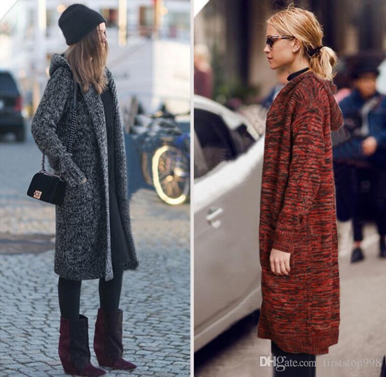 La nueva Negro largo suéter de las rebecas con Sombrero manera de las mujeres más el tamaño de la manga Outwear completa con los bolsillos del abrigo de invierno suéter caliente