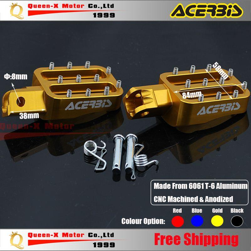 2018 Acerbis Gold Billet Cnc Foot Peg Pedals Rests Fit Cr Kayo Sdg