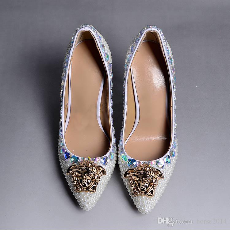 ファッション強くお勧めアイボリーパールクリスタル結婚式の靴尖ったつま先のブライダルシューズゴージャスな宴会パーティーウエディングドレスシューズ