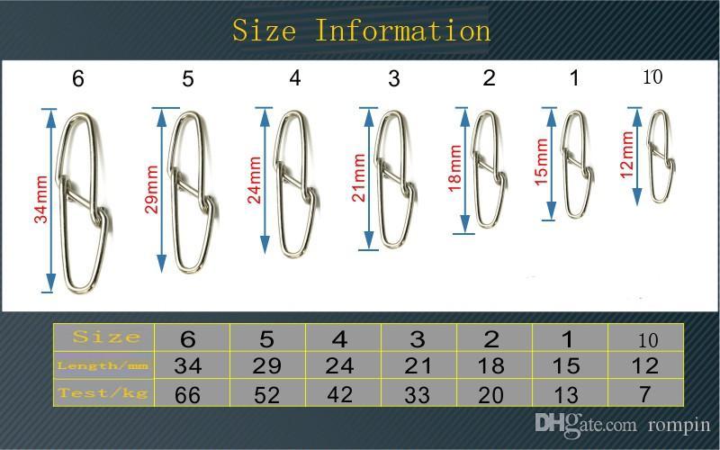 Rompin 는 / 많은 다이아몬드 스냅 낚시 배럴 스위블 안전 회전 스냅 0 # -6 # 낚시 스테인레스 스틸 후크 커넥터를 회전 고리 스냅