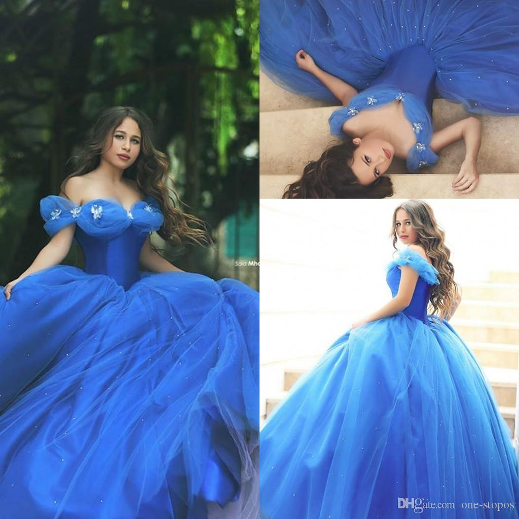 2015 New Cinderella Prom Dresses Ball Gown Off Shoulder Royal Blue ...