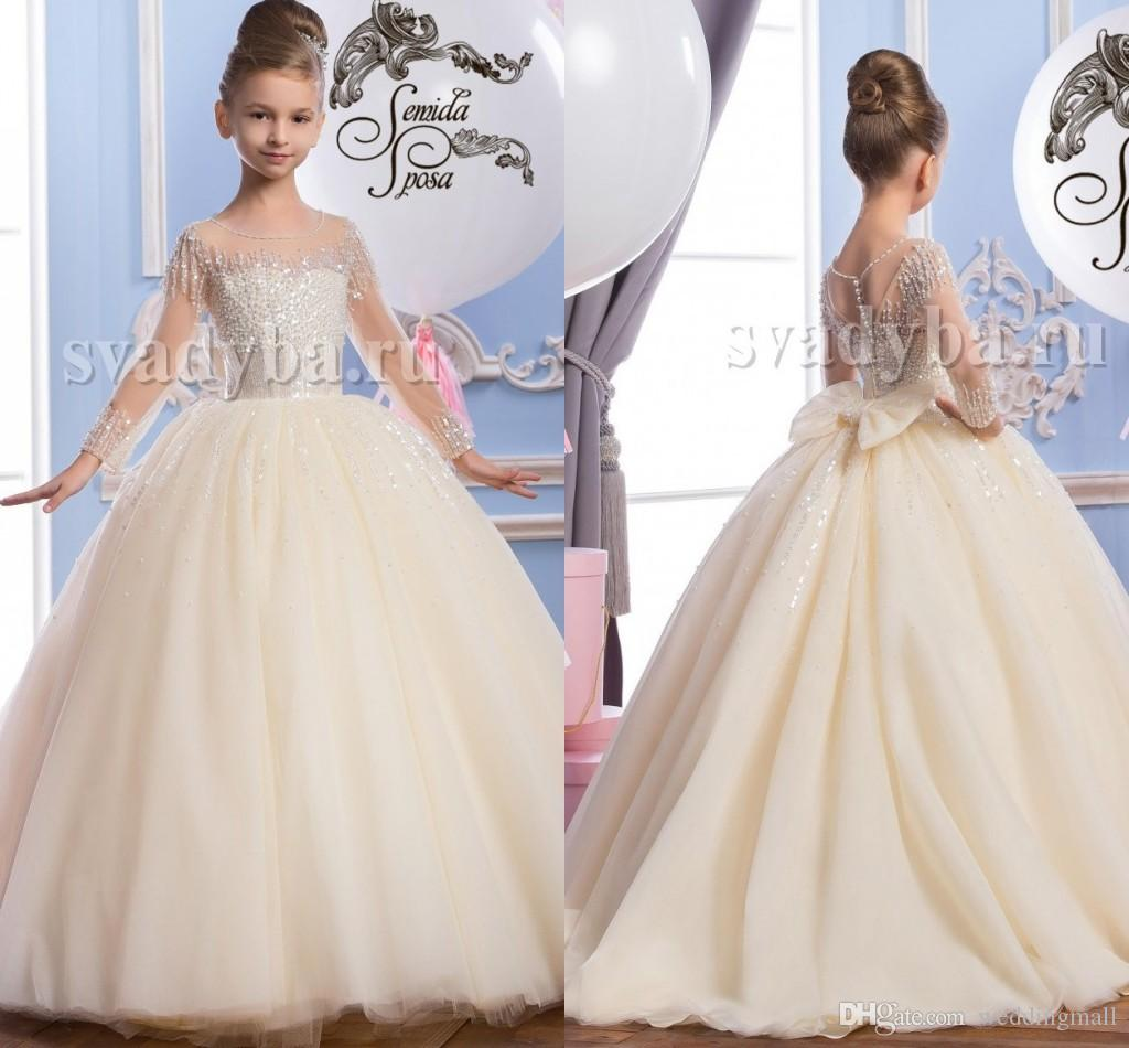 Sheer Neck Beaded Tulle Luxurious Arabic Flower Girl Dresses ...