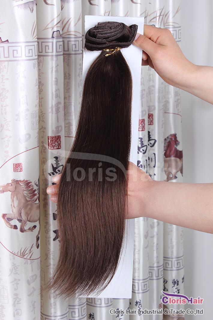 All'ingrosso # 4 Testa di cavallo marrone scuro Set completo 70g Clip in estensioni dei capelli umani di Remy Clip a buon mercato sui capelli vergini peruviani, 18-22 pollici