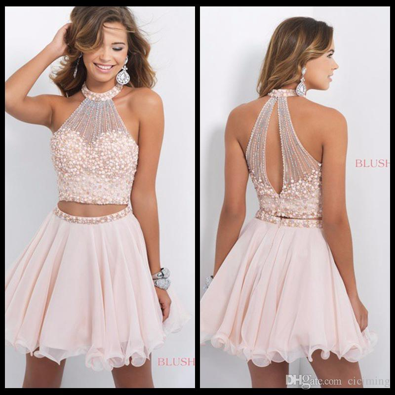 Short 8th Grade Prom Dresses Pink Two Pieces Homecoming Dresses ...