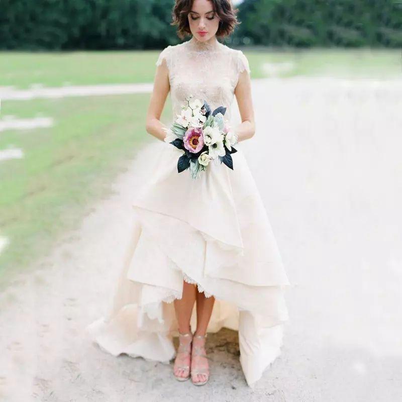 Vestidos de novia de encaje dobladillo alto bajo Top encaje de cuello alto mangas nupcial vestido de novia Vestido de boda de jardín trasero corto trasero largo