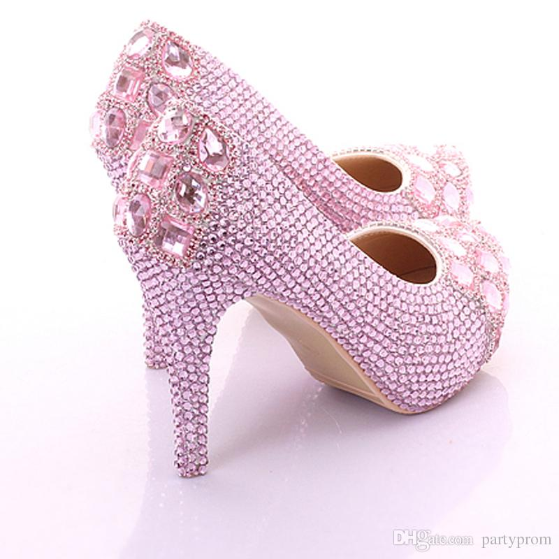 Sexy Luxury Rhinestone Princess Wedding Shoes For Woman High heel Pink Candy Color Pumps Woman Shoes