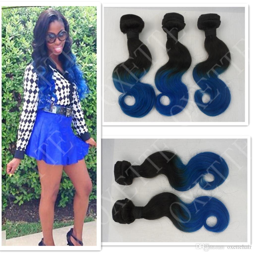 Oxette Blue Ombre Hair Weave Extensions Body Wave Two Tone Color