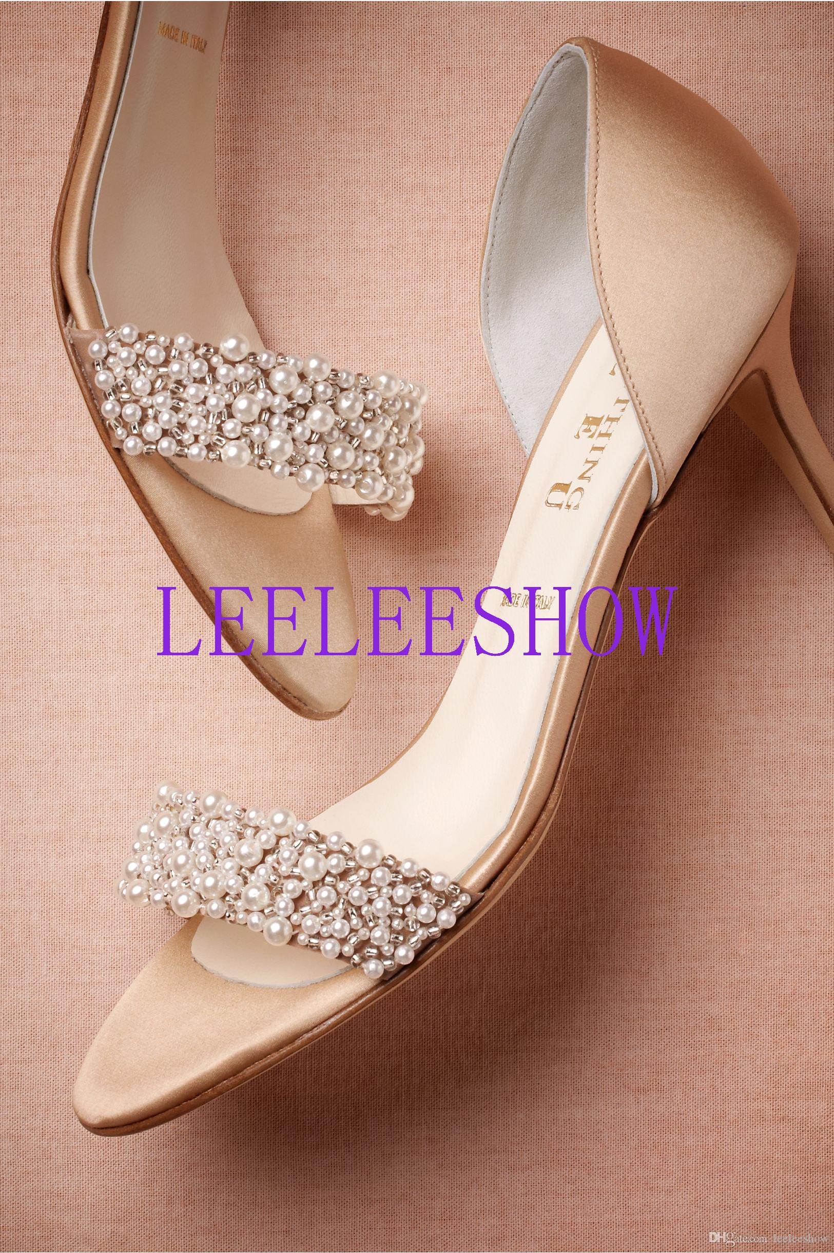 2015 Elegant Wedding Shoes With Subtle Pearls Stiletto Short Heels
