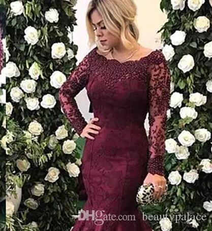 Mermaid Evening Dresses 2018 Long Sleeves Full Lace Pearls Beaded Grape Burgundy Formal Party Dress Prom Gowns Custom Made